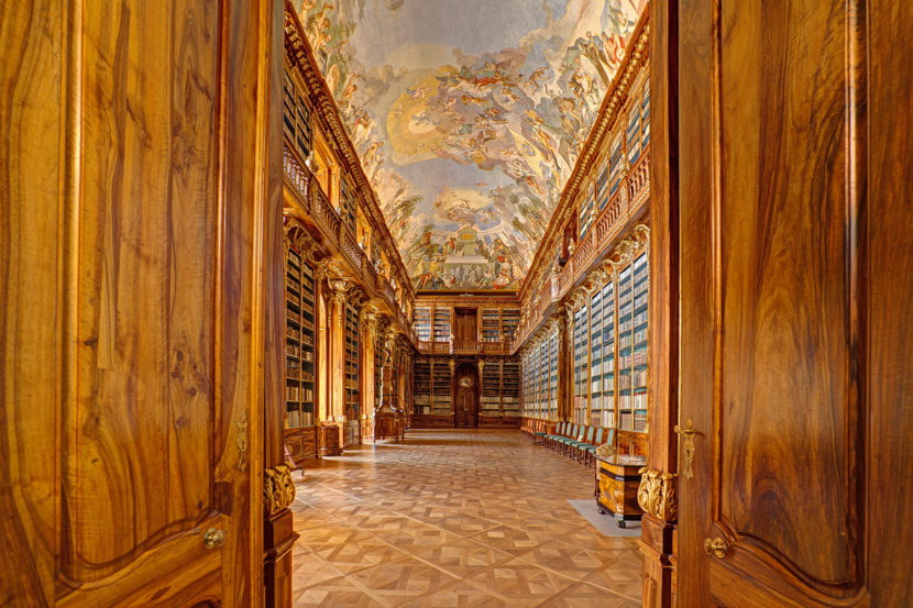 ig Philosophical room of the historic library in the old building of Strahov monastery